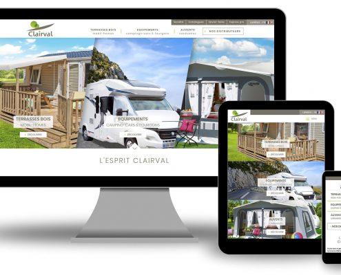 Site Clairval conception et fabrication française de terrasse bois et accessoires de mobil home, équipement camping cars et auvents pour caravane