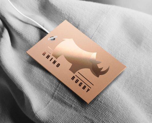 Logo Étiquette rhino rugby Confitacom Montaigu Vendée